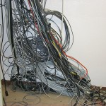 Cables that were run in the Goddard facility, after the racks had been removed from that corner